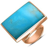 18ct Rose Gold Turquoise Large Square Ring