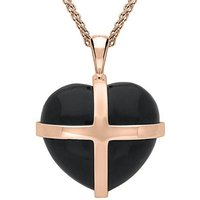 18ct Rose Gold Whitby Jet Large Cross Heart Necklace
