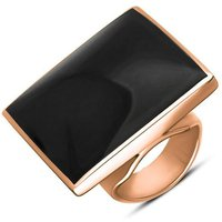 18ct Rose Gold Whitby Jet Large Square Ring