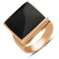 18ct Rose Gold Whitby Jet Small Square Ring