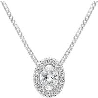 18ct White Gold 0.44ct Diamond Pave Oval Necklace