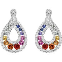 18ct White Gold 0.52ct Mixed Sapphire 0.81ct Diamond Open Pear Drop Earrings