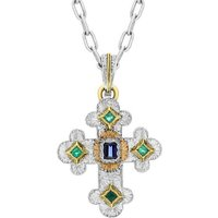 18ct White Gold 0.53ct Sapphire And Emerald Cross Necklace