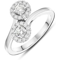 18ct White Gold 0.60ct Diamond Double Cross Over Ring