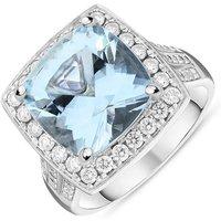18ct White Gold 7.97ct Aquamarine 1.11ct Diamond Cushion Cut Ring