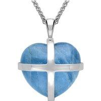 18ct White Gold Aquamarine Large Cross Heart Necklace