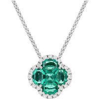 18ct White Gold Emerald 0.22ct Diamond Clover Cluster Necklace