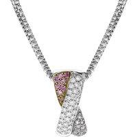 18ct White Gold Pink Sapphire Diamond Cross Bar Necklace