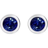 18ct White Gold Sapphire Bezel Set Solitaire Stud Earrings
