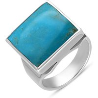 18ct White Gold Turquoise Small Square Ring