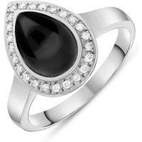 18ct White Gold Whitby Jet 0.13ct Diamond Pear Shaped Ring
