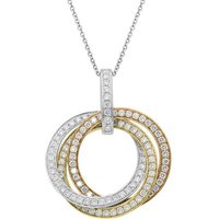 18ct White Yellow Rose 1.24ct Diamond Three Ring Necklace
