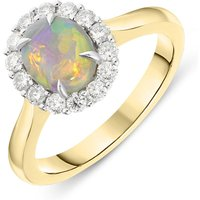 18ct Yellow Gold 0.89ct Opal 0.35ct Diamond Oval Cluster Ring