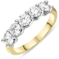 18ct Yellow Gold Diamond Five Stone Half Eternity Ring