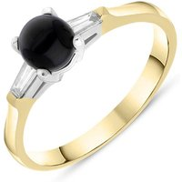 18ct Yellow Gold Whitby Jet 0.16ct Diamond Shoulder Ring