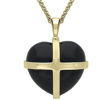 18ct Yellow Gold Whitby Jet Large Cross Heart Necklace