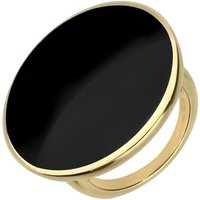 18ct Yellow Gold Whitby Jet Round Ring