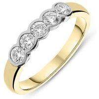 18ct Yellow Gold 0.75ct Diamond Five Stone Wedding Half Eternity Ring