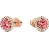 18ct Rose Gold 1.80ct Morganite Diamond Halo Stud Earrings
