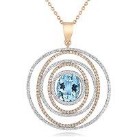 18ct Rose Gold 3.32ct Aquamarine Diamond Spiral Necklace