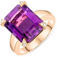 18ct Rose Gold 8.41ct Amethyst Diamond Emerald Cut Ring