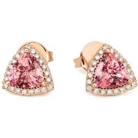 18ct Rose Gold 1.37ct Morganite Diamond Trillion Cut Earrings