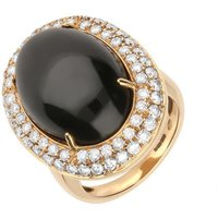 18ct Rose Gold Whitby Jet 1.49ct Diamond Large Oval Ring