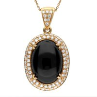 18ct Rose Gold Whitby Jet 1.57ct Diamond Large Oval Necklace