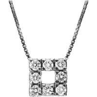 18ct White Gold 0.24ct Diamond Square Pendant Necklace