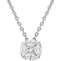 18ct White Gold 0.26ct Diamond Marquise Cut Cluster Necklace