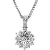 18ct White Gold 0.47ct Diamond Flower Necklace