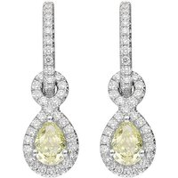 18ct White Gold 0.66ct Yellow Diamond Pear Drop Earrings