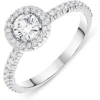 18ct White Gold 0.73ct Brilliant Cut Diamond Halo Ring