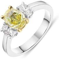 18ct White Gold 1.00ct Yellow Diamond and 0.41ct Diamond Oval Three Stone Ring