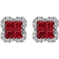 18ct White Gold 1.12ct Ruby 0.32ct Diamond Cluster Earrings