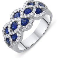 18ct White Gold 1.37ct Sapphire Diamond Lattice Ring