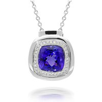 18ct White Gold 2.63ct Tanzanite and Diamond Cushion Necklace