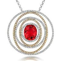 18ct White Gold 2.88ct Pink Tourmaline Diamond Spiral Necklace