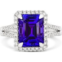 18ct White Gold 4.85ct Tanzanite Diamond Emerald Cut Ring