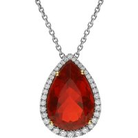 18ct White Gold 5.96ct Fire Opal Diamond Pear Cut Cluster Necklace