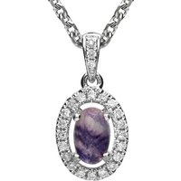 18ct White Gold Blue John and Diamond Oval Necklace