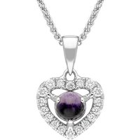 18ct White Gold Blue John 0.16ct Diamond Heart Necklace