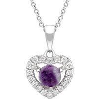 18ct White Gold Blue John 0.17ct Diamond Heart Necklace