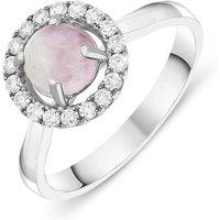 18ct White Gold Blue John 0.24ct Diamond Halo Ring