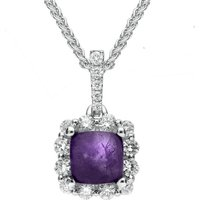 18ct White Gold Blue John and Diamond Square Necklace