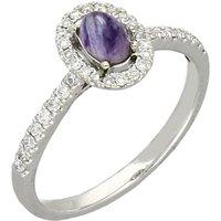 18ct White Gold Blue John Brilliant Cut Diamond Oval Ring