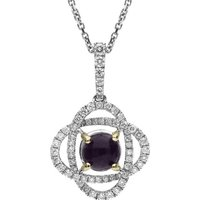18ct White Gold Blue John and Diamond Necklace