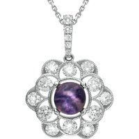 18ct White Gold Blue John Diamond Central Stone Flower Necklace
