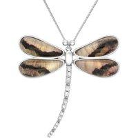 18ct White Gold Blue John Diamond Large Four Stone Dragonfly Necklace