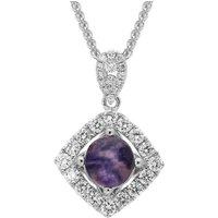 18ct White Gold Blue John and Diamond Open Square Necklace